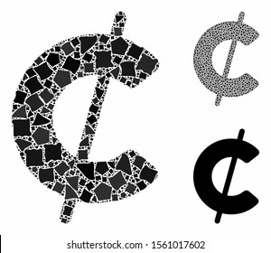 Cent mosaic of rough items in various sizes and color hues, based on cent icon. Vector humpy items are combined into mosaic. Cent icons collage with dotted pattern.