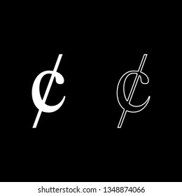 Cent symbol sign dollor money icon set white color vector illustration flat style simple image