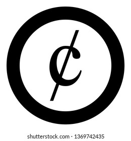 Cent symbol sign dollor money icon in circle round black color vector illustration flat style simple image