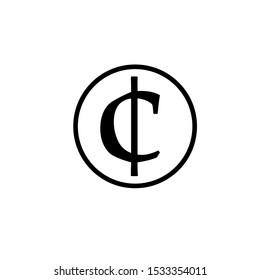 Cent vector icon. Style is flat black symbol, rounded angles, white background.