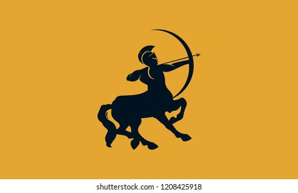 Centaur Archer Logo. a mythological creature with the upper body of a human holding a bow and arrow and the lower body and legs of a horse.