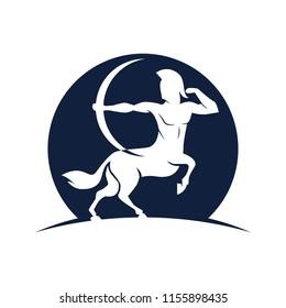 Centaur Archer.mythology creature.SAGITTARIUS ZODIAC SIGN.vector logo icon illustration.