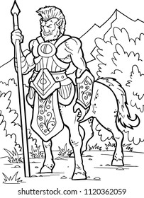 Centaur. Human warrior with horse body. Fantasy magic creatures collection. Hand drawn vector illustration. Engraved line art drawing, graphic mythical doodle.