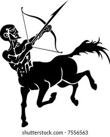 Centaur. Monochrome vector illustration of a stylised Centaur with a bow and arrow