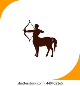 Centaur sign. Brown icon on white background