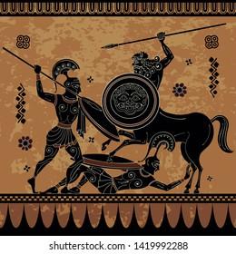 Centaur,hero,spartan,myth.Ancient civilization culture.Ancient greece warrior.Black figure pottery.Ancient greek scene banner.