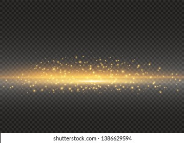 To center a bright flash. Yellow glowing light explodes on a transparent background. Sparkling magical dust particles. Bright Star. Transparent shining sun, bright flash. Vector sparkles.