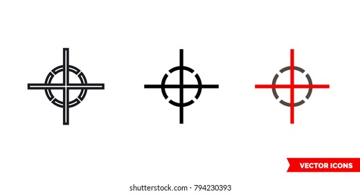 Center of gravity icon of 3 types: color, black and white, outline. Isolated vector sign symbol.
