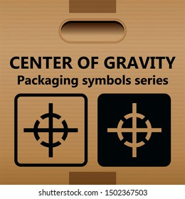 CENTER OF GRAVITY packaging symbol