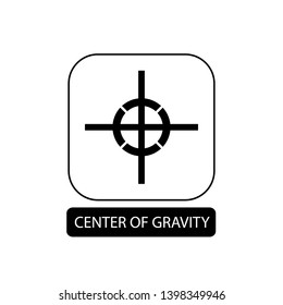 Center of gravity sign. Flat packaging symbol. Mail box icon isolated on white. Vector illustration