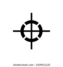 Center of gravity sign. The graphic symbol is depicted as perpendicular axes with a dotted circle around their intersection.