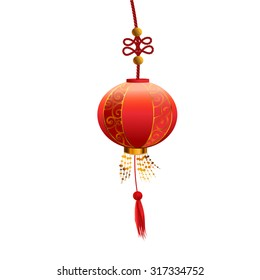 In the center hangs a red Chinese lantern with gold ornament.