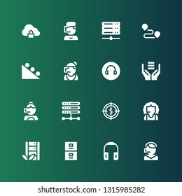 center icon set. Collection of 16 filled center icons included Call center, Headphones, Server, Target, Headphone, Gravity, Track, Cloud storage