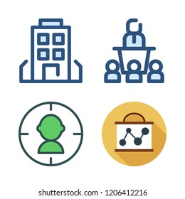center icon set. vector set about target, presentation, building and conference icons set.