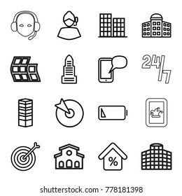Center icons. set of 16 editable outline center icons such as business centre, building   isolated  sign symbol, business center, target, support, low battery, mortgage