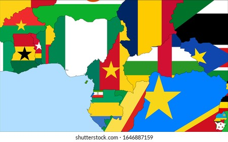Center the map of Cameroon. Vector maps showing Cameroon and neighboring countries. Flags are indicated on the country maps, the most recent detailed drawing.
