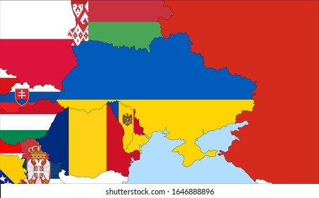 Center the map of Ukraine. Vector maps showing Ukraine and neighboring countries. Flags are indicated on the country maps, the most recent detailed drawing.