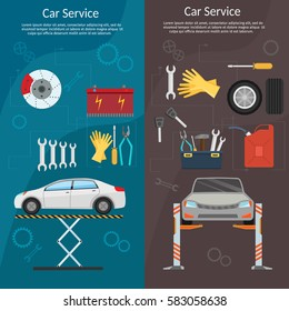 Center Mechanical car service with repair Check Up vehicles Flat horizontal banners wheel machine and vector illustration