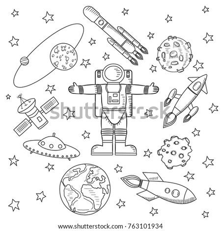 Center Picture Astronaut Stars Meteorites Spaceships Stock Vector