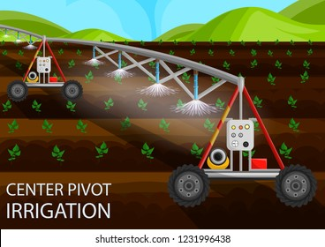 Center Pivot Irrigation Concept. Agriculture Field. Drip Irrigation of Sprout using Agricultural Machinery. Agriculture Field Industry. Growth Organic. Fertilizer on Field. Vector Flat Illustration.