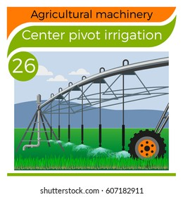Center pivot irrigation. Vector illustration