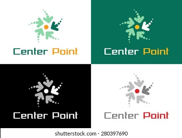 """""""Center Point"""" Logo. Graphic symbol combined from arrows moving to center point. Used own designed font"""