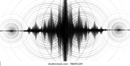 Center of Super power Earthquake Wave with Circle Vibration on White paper background; audio wave diagram concept; design for education and science; Vector Illustration.