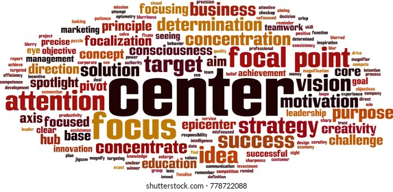 Center word cloud concept. Vector illustration