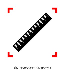 Centimeter ruler sign. Black icon in focus corners on white background. Isolated.