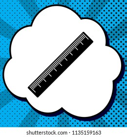 Centimeter ruler sign. Vector. Black icon in bubble on blue pop-art background with rays.