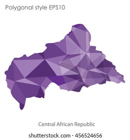 Central African Republic in geometric polygonal style.Abstract gems triangle,modern design background. Vector illustration EPS10
