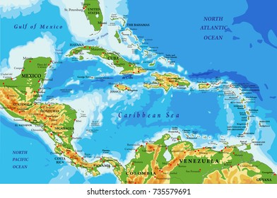 Central America and Caribbean Islands relief map