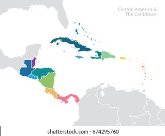 Central America and the Caribbean map.
