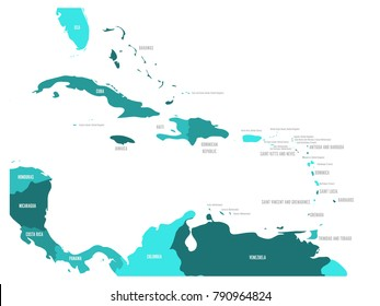 Central America and Caribbean states political map in four shades of turquoise blue with black country names labels. Simple flat vector illustration.