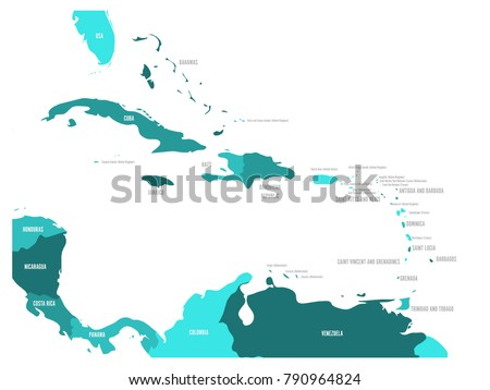 Map Of America And Caribbean.Central America Caribbean States Political Map Stock Vector Royalty