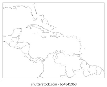 Central America and Carribean states political map. Black outline borders. Simple flat vector illustration.
