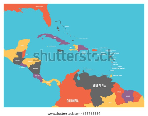 Central America Carribean States Political Map Stock Vector (Royalty ...
