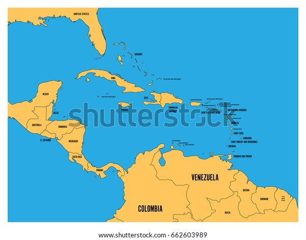 Central America Carribean States Political Map Stock ...