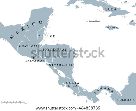 Central America Countries Political Map National Stock Vector ...