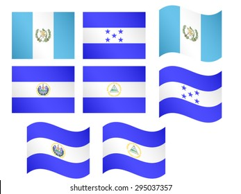 Central America Flags 1 EPS 10