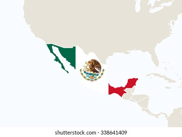 Central America with highlighted Mexico map. Vector Illustration.