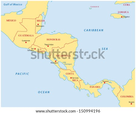 Central America Map Stock Vector (Royalty Free) 150994196 - Shutterstock