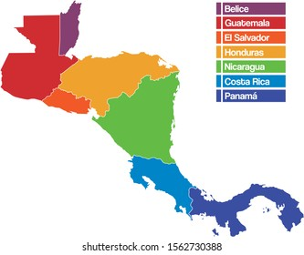 Central America map bright colors