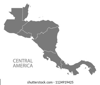 Central America map with country borders grey illustration