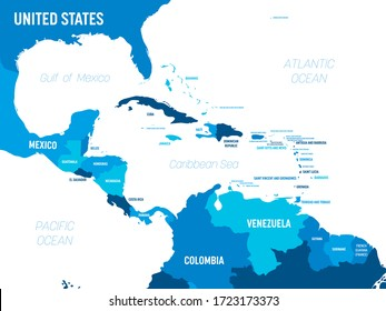 Central America map - green hue colored on dark background. High detailed political map Central American and Caribbean region with country, capital, ocean and sea names labeling.