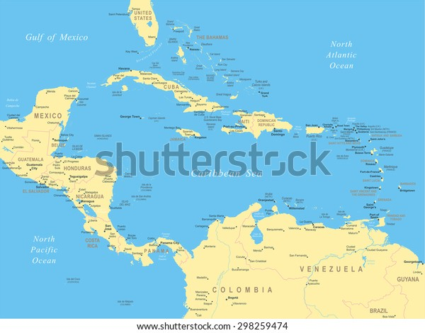 Central America Map Highly Detailed Vector Stock Vector ...