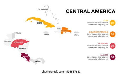 Central America map infographic. Slide presentation. Global business marketing concept. Color country. World transportation data. Economic statistic template.