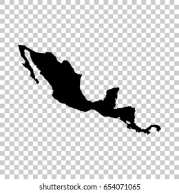 Central America map isolated on transparent background. Black map for your design. Vector illustration, easy to edit.
