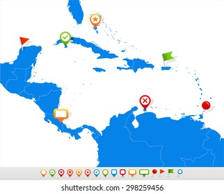 Central America map and navigation icons - Illustration