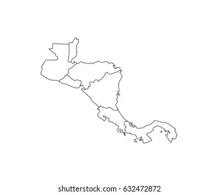 Central America Map Outline Vector